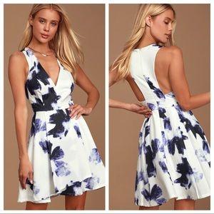 Lulu's Seeing Chic Blue & Ivory Print Skater Dress